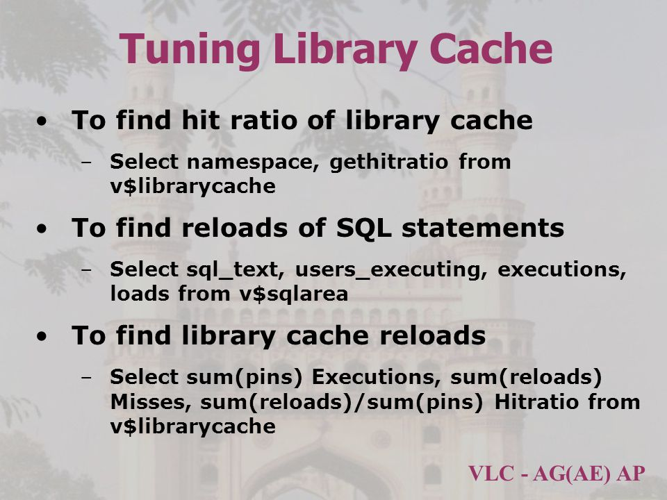 Tuning Library Cache To find hit ratio of library cache
