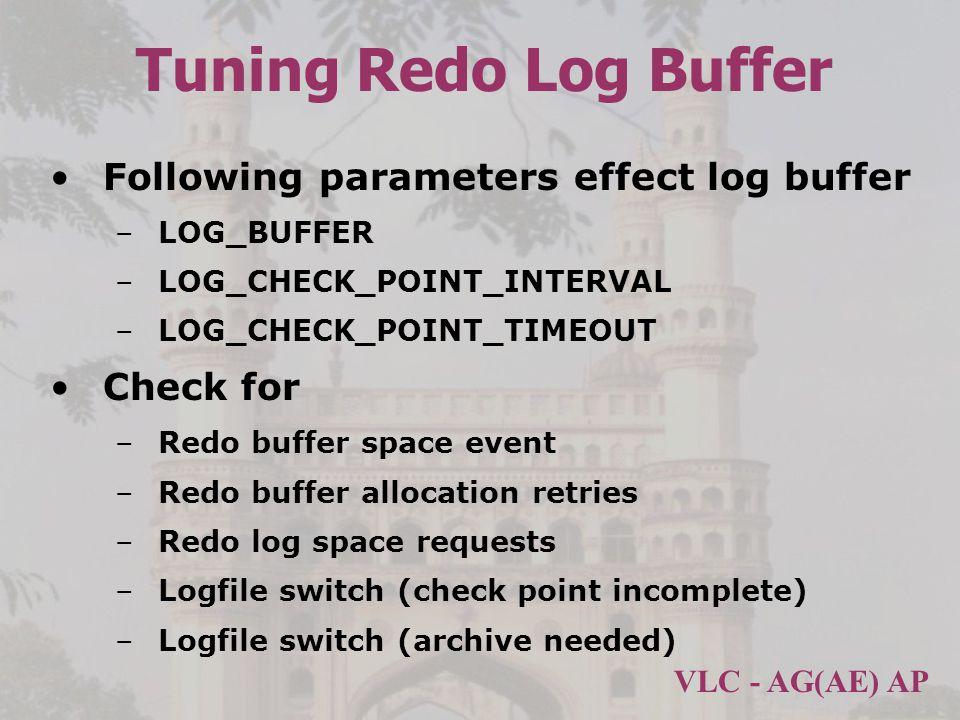 Tuning Redo Log Buffer Following parameters effect log buffer