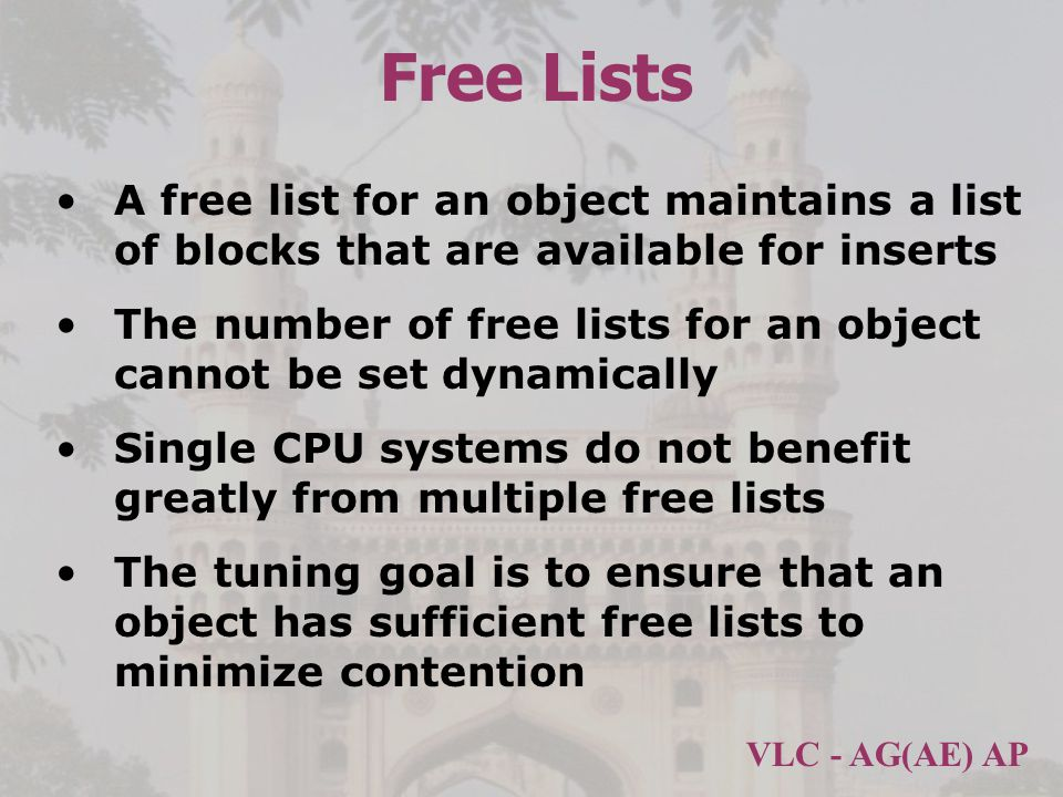 Free Lists A free list for an object maintains a list of blocks that are available for inserts.