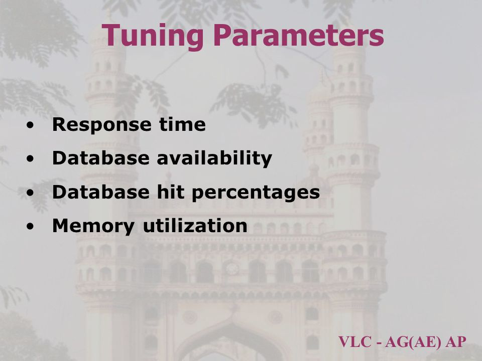 Tuning Parameters Response time Database availability