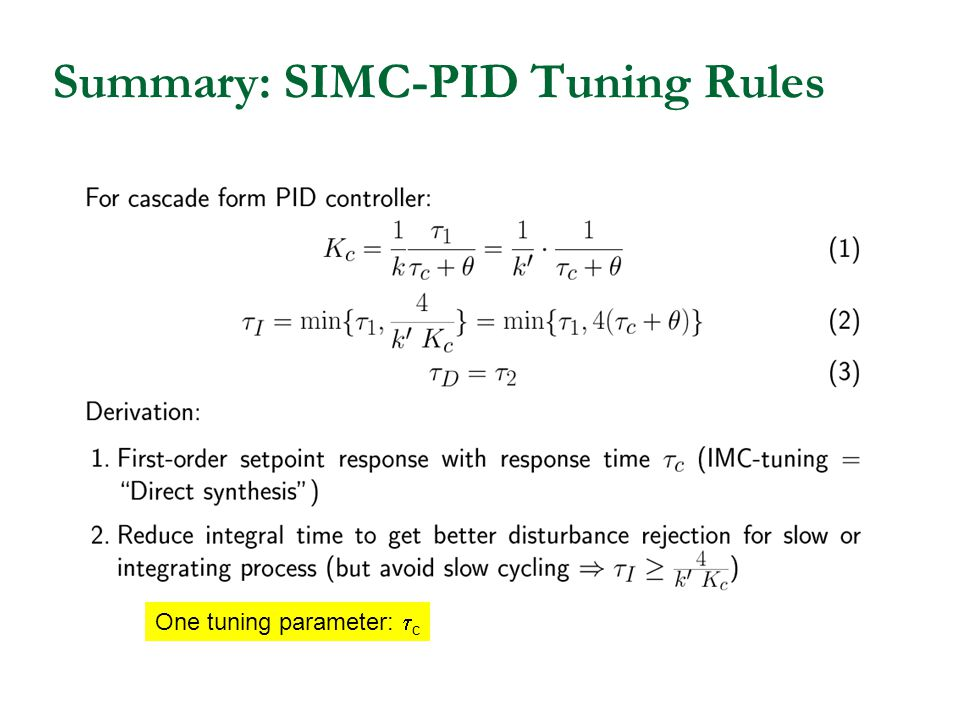 Summary: SIMC-PID Tuning Rules