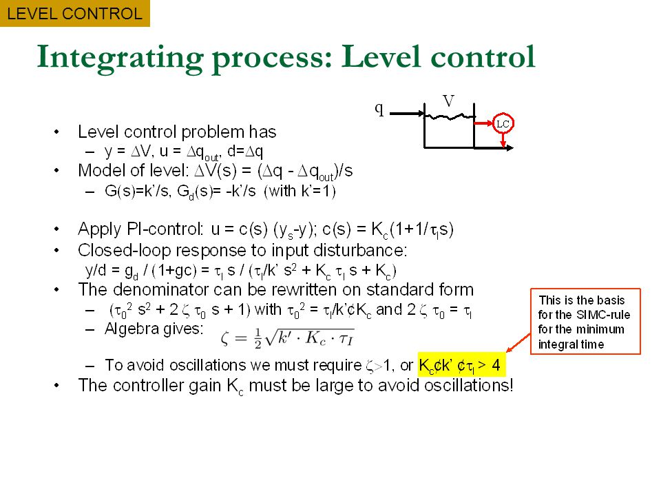 Integrating process: Level control