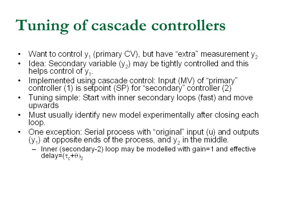 Tuning of cascade controllers
