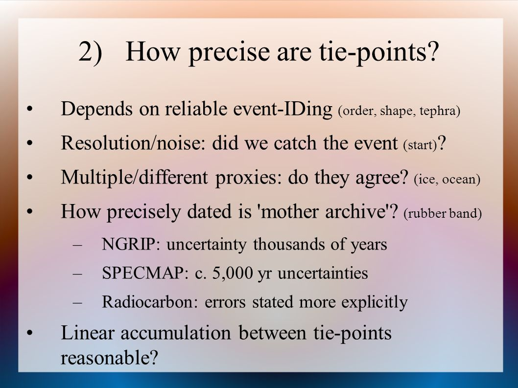2) How precise are tie-points