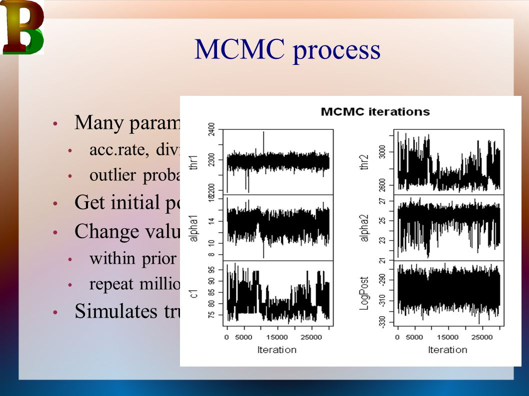 MCMC process Many parameters Get initial point estimate all parameters
