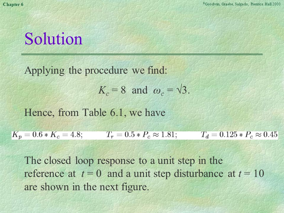 Solution Applying the procedure we find: Kc = 8 and ωc = 3.