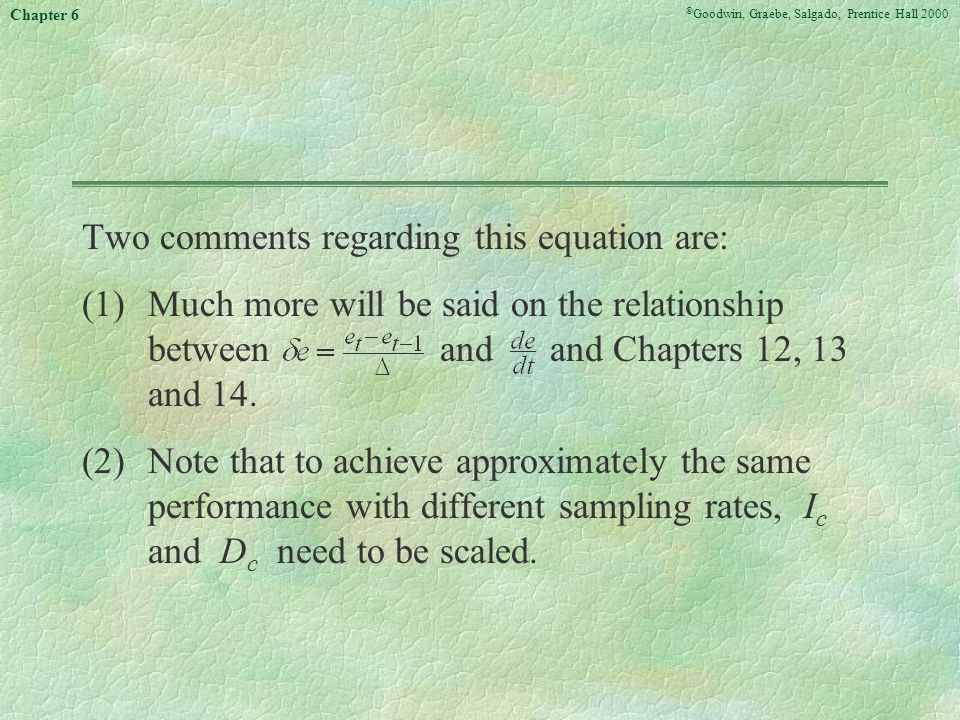 Two comments regarding this equation are: