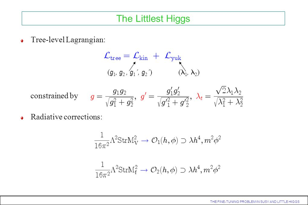 The Littlest Higgs Tree-level Lagrangian: Radiative corrections: