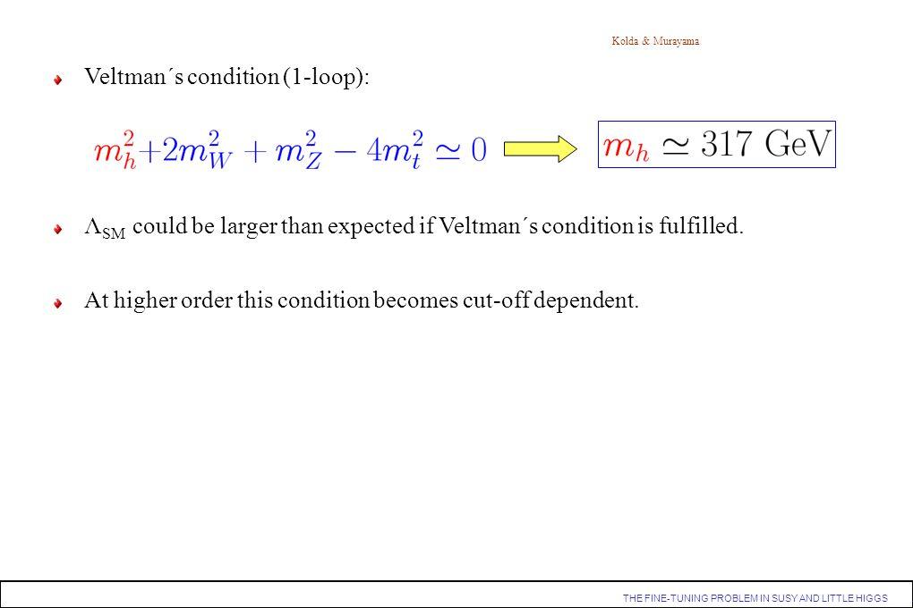 Veltman´s condition (1-loop):