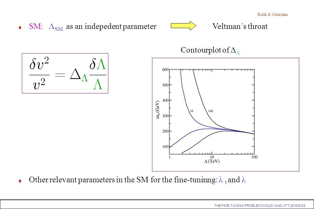 SM: ΛSM as an indepedent parameter Veltman´s throat Contourplot of ΔΛ