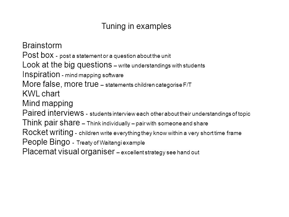 Tuning in examples Brainstorm. Post box - post a statement or a question about the unit.