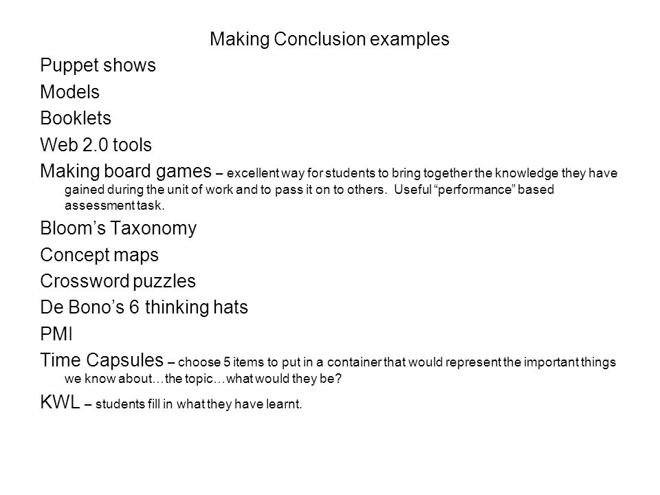 Making Conclusion examples