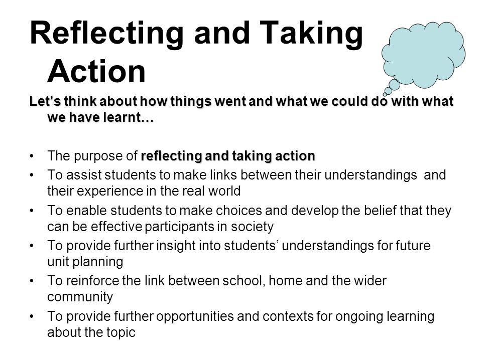 Reflecting and Taking Action