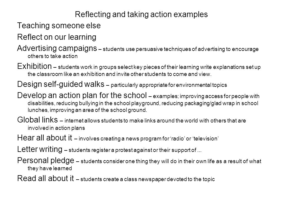 Reflecting and taking action examples