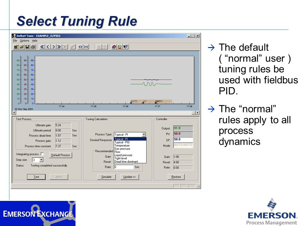 Select Tuning Rule The default ( normal user ) tuning rules be used with fieldbus PID.