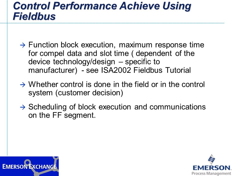 Control Performance Achieve Using Fieldbus