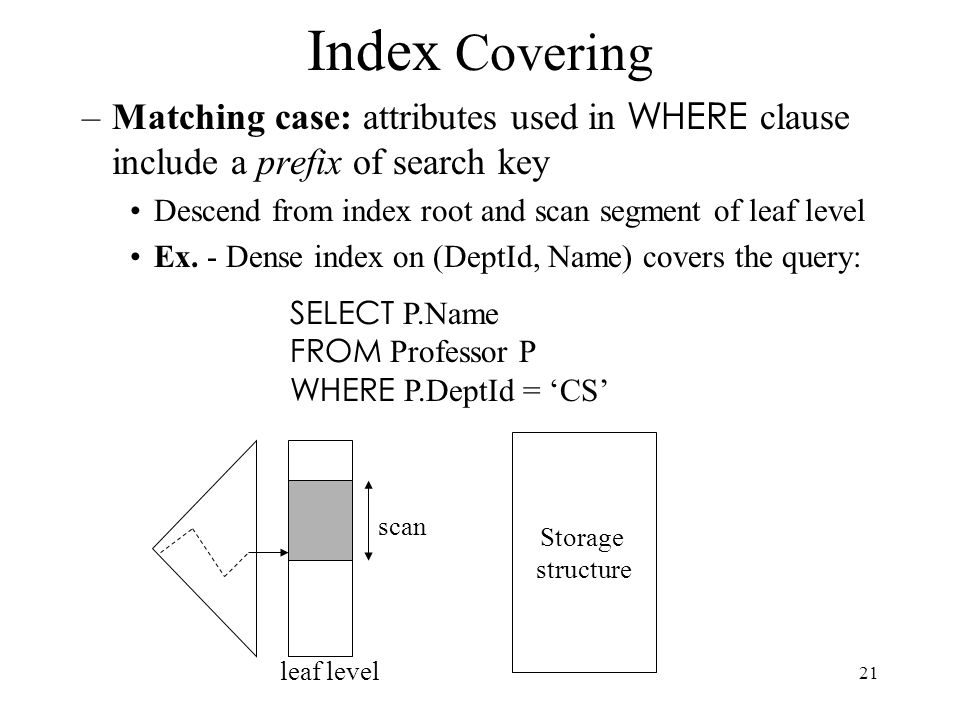 Index Covering Matching case: attributes used in WHERE clause include a prefix of search key. Descend from index root and scan segment of leaf level.