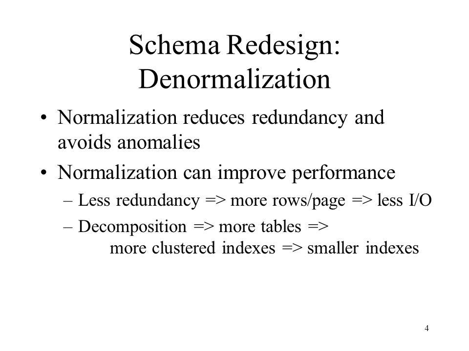 Schema Redesign: Denormalization