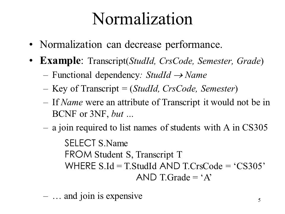 Normalization Normalization can decrease performance.
