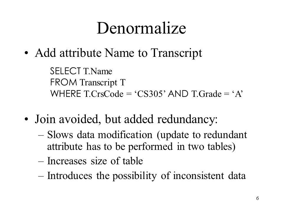 Denormalize Add attribute Name to Transcript