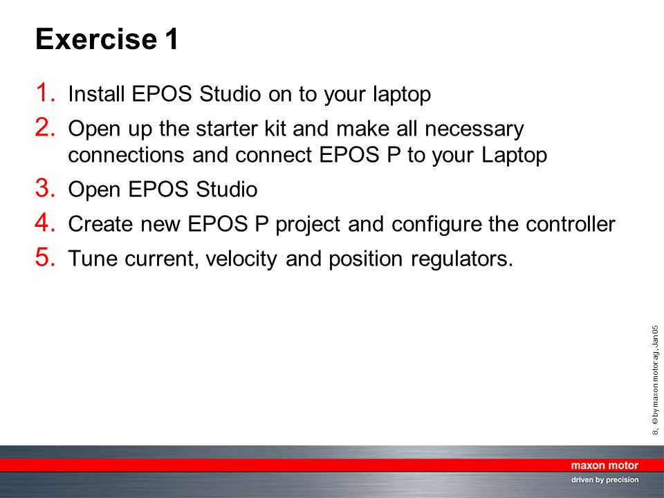 Exercise 1 Install EPOS Studio on to your laptop