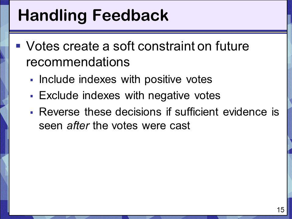 Handling Feedback Votes create a soft constraint on future recommendations. Include indexes with positive votes.