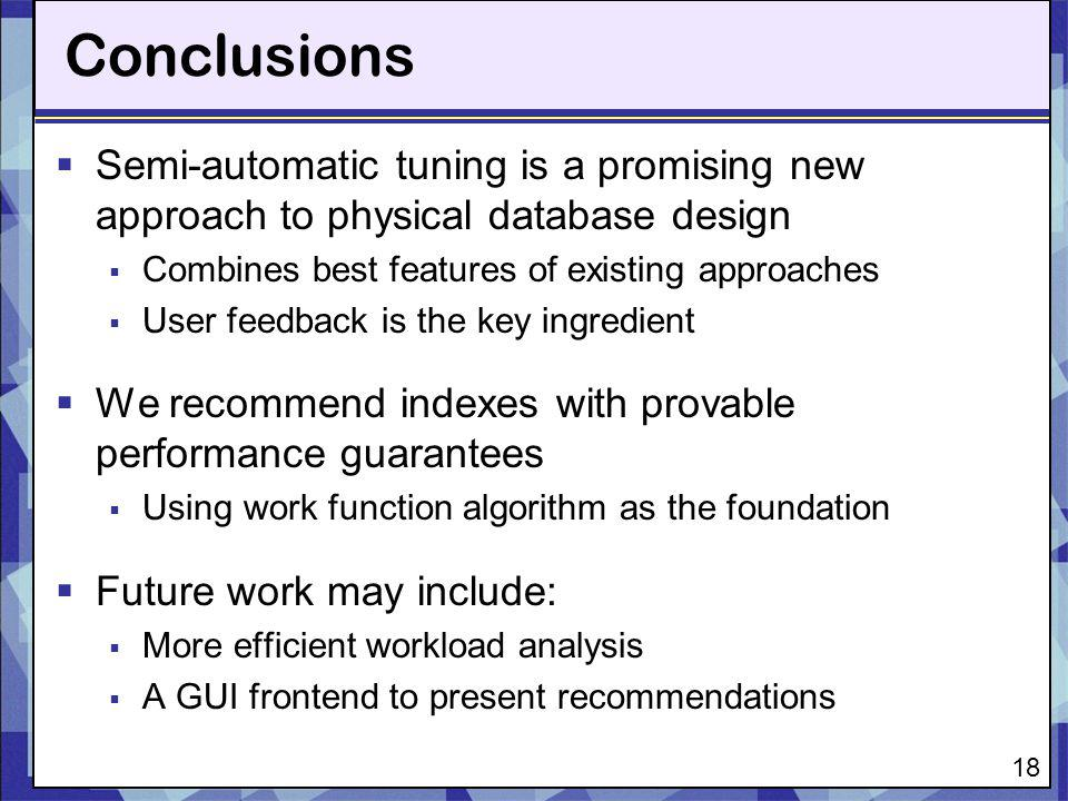 Conclusions Semi-automatic tuning is a promising new approach to physical database design. Combines best features of existing approaches.