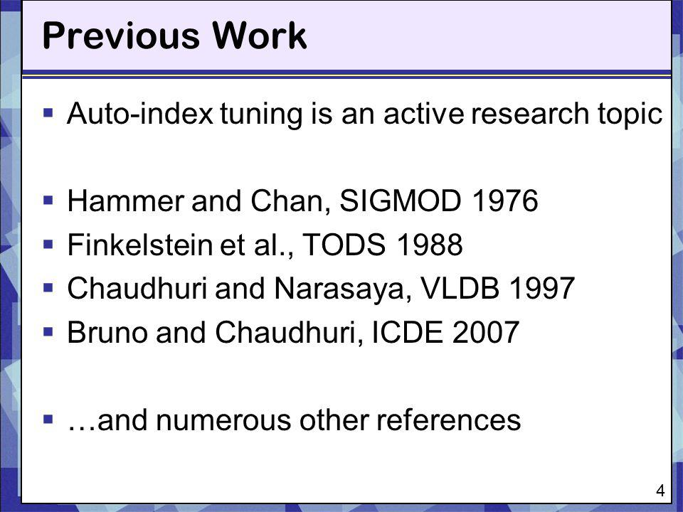 Previous Work Auto-index tuning is an active research topic