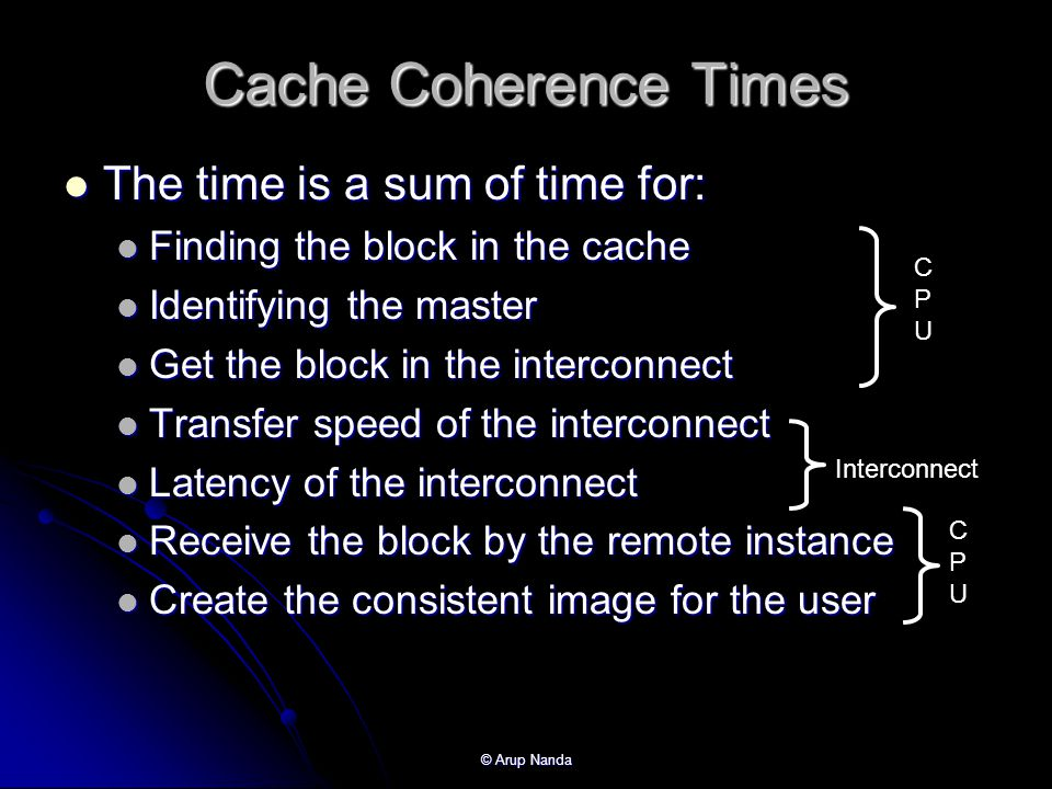 Cache Coherence Times The time is a sum of time for:
