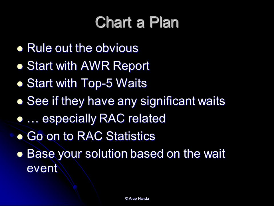 Chart a Plan Rule out the obvious Start with AWR Report