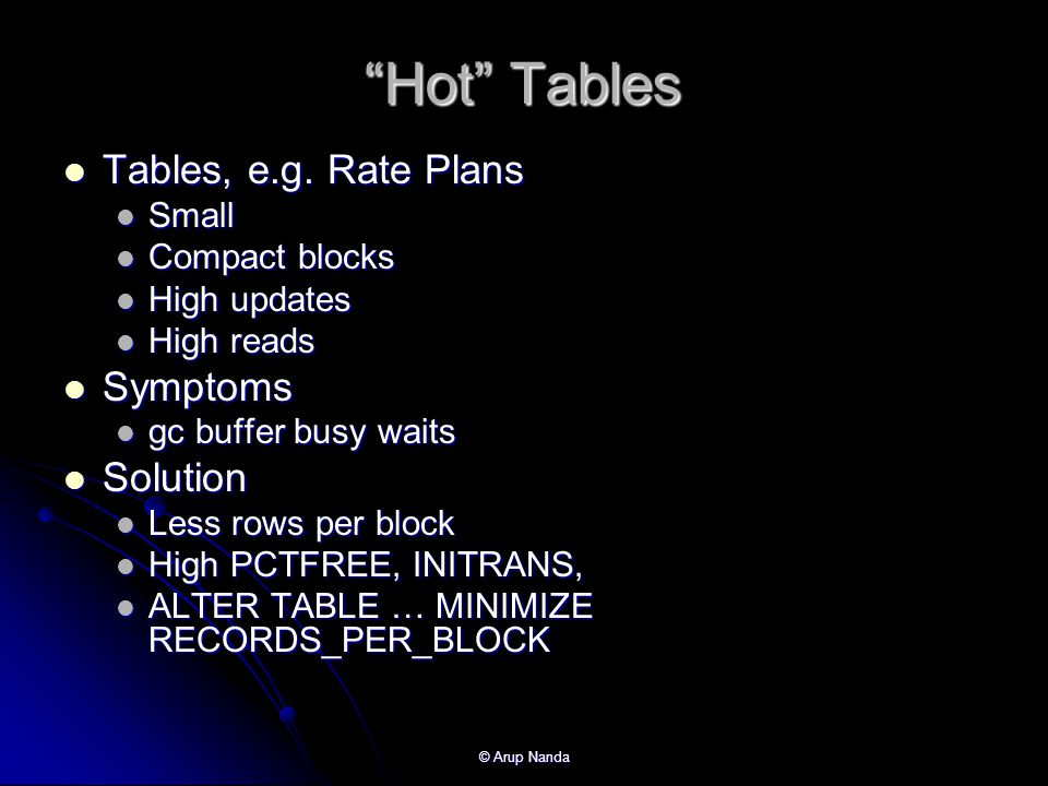 Hot Tables Tables, e.g. Rate Plans Symptoms Solution Small