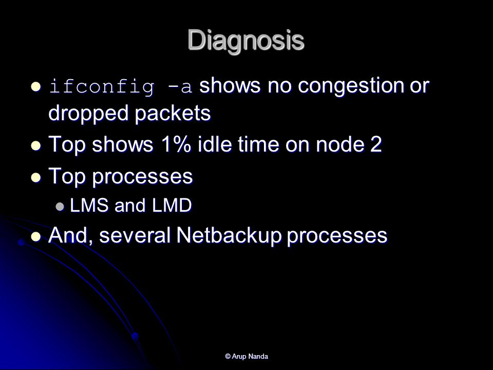 Diagnosis ifconfig -a shows no congestion or dropped packets