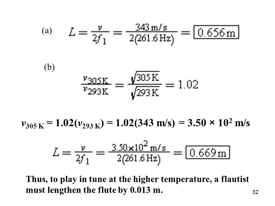 v305 K = 1.02(v293 K) = 1.02(343 m/s) = 3.50 × 102 m/s (a) (b)