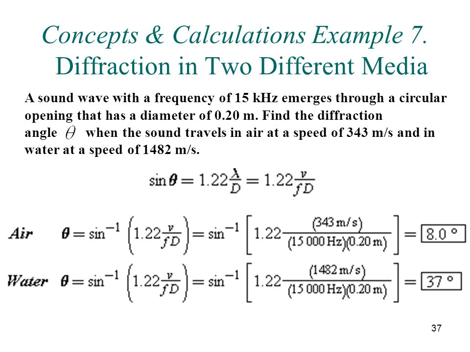 Concepts & Calculations Example 7. Diffraction in Two Different Media