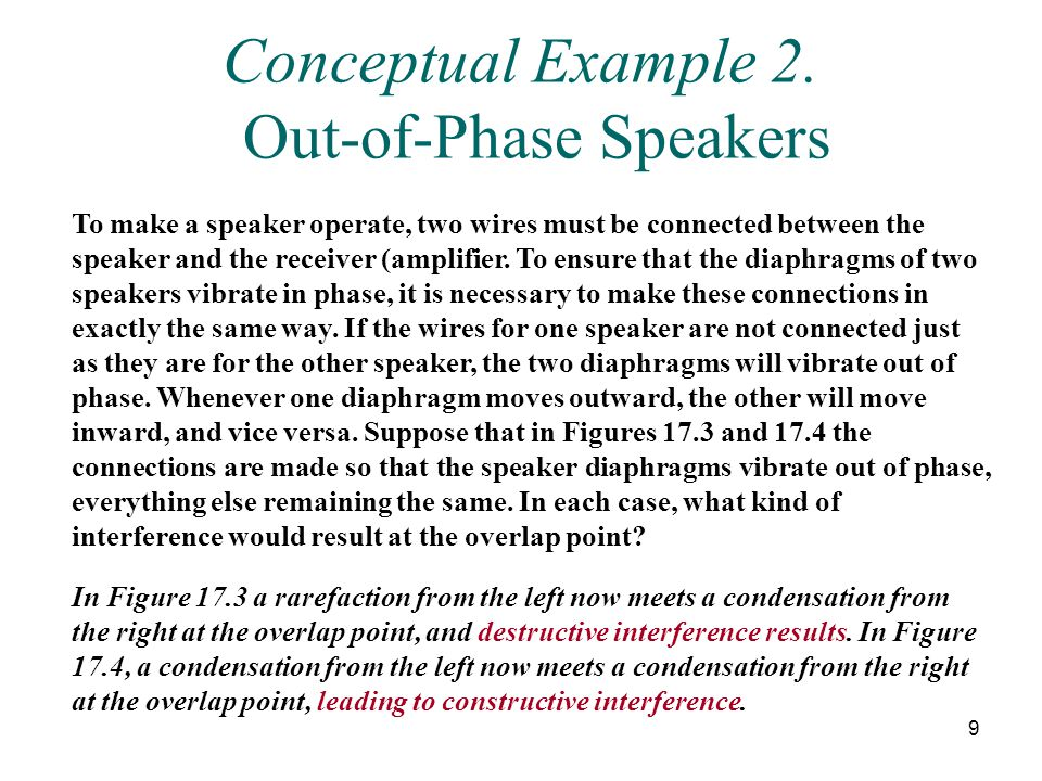 Conceptual Example 2. Out-of-Phase Speakers