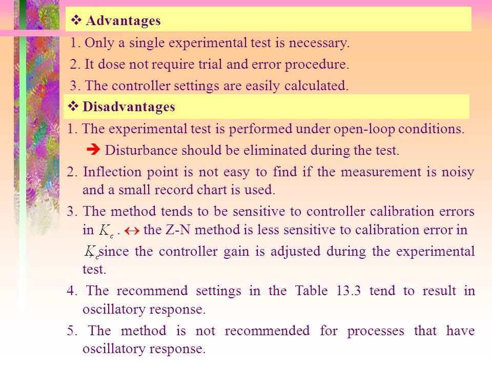 Advantages 1. Only a single experimental test is necessary. 2. It dose not require trial and error procedure.