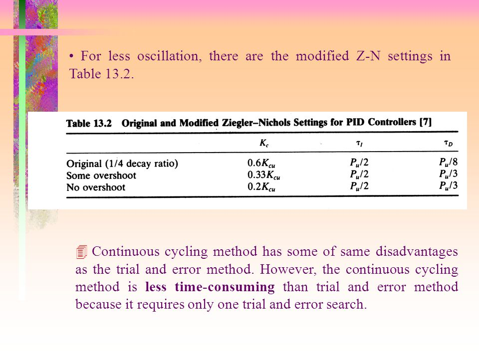 For less oscillation, there are the modified Z-N settings in Table 13