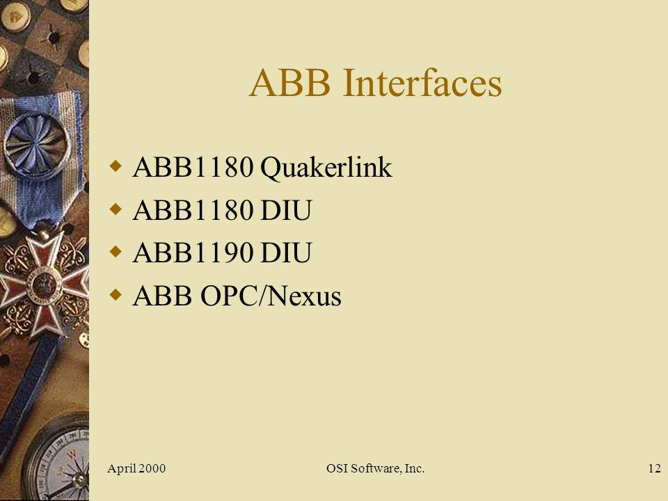 ABB Interfaces ABB1180 Quakerlink ABB1180 DIU ABB1190 DIU