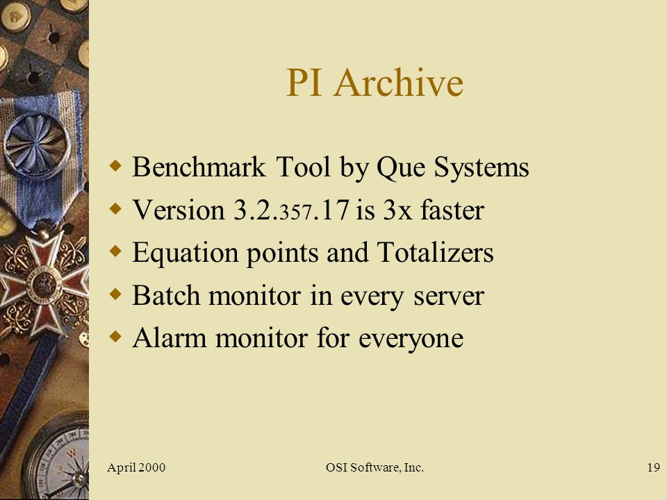 PI Archive Benchmark Tool by Que Systems
