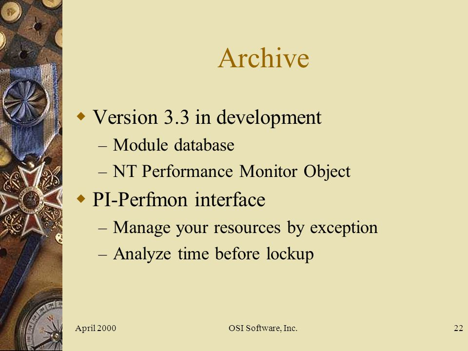 Archive Version 3.3 in development PI-Perfmon interface