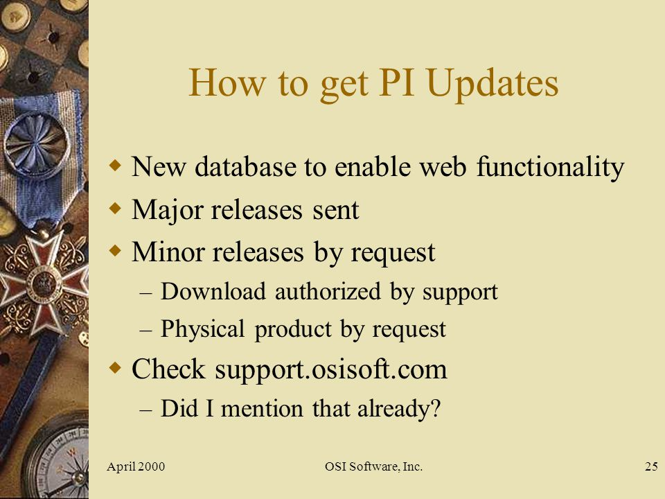 How to get PI Updates New database to enable web functionality