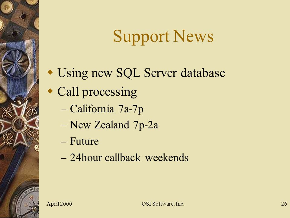 Support News Using new SQL Server database Call processing