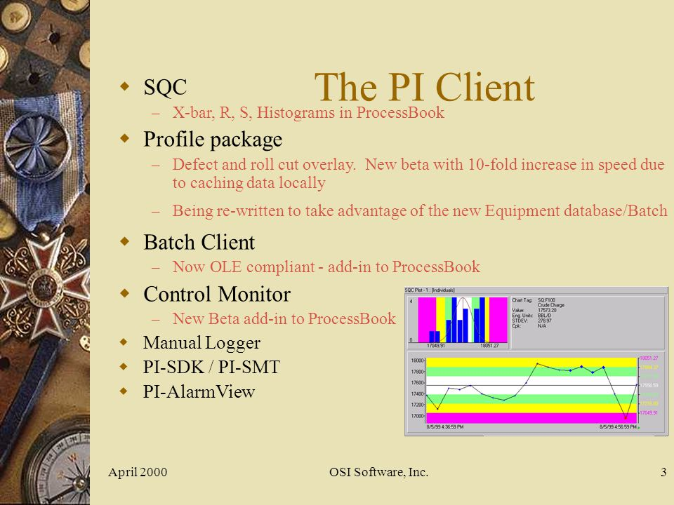The PI Client SQC Profile package Batch Client Control Monitor