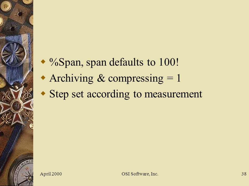 Archiving & compressing = 1 Step set according to measurement