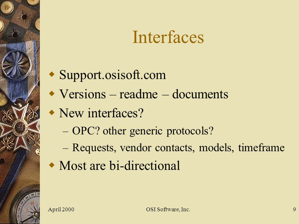 Interfaces Support.osisoft.com Versions – readme – documents