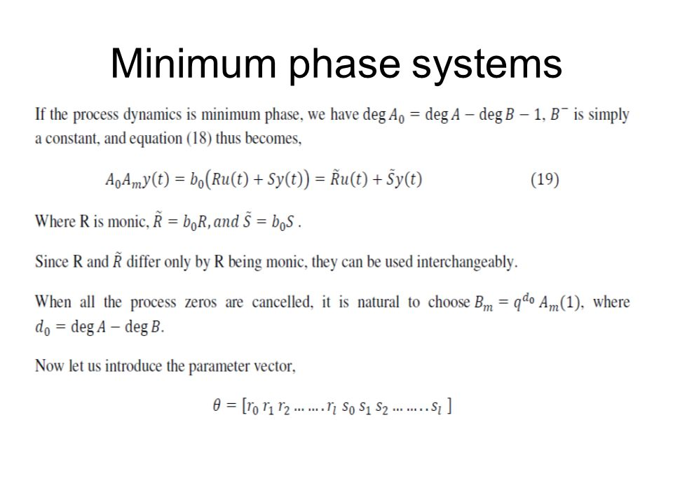 Minimum phase systems