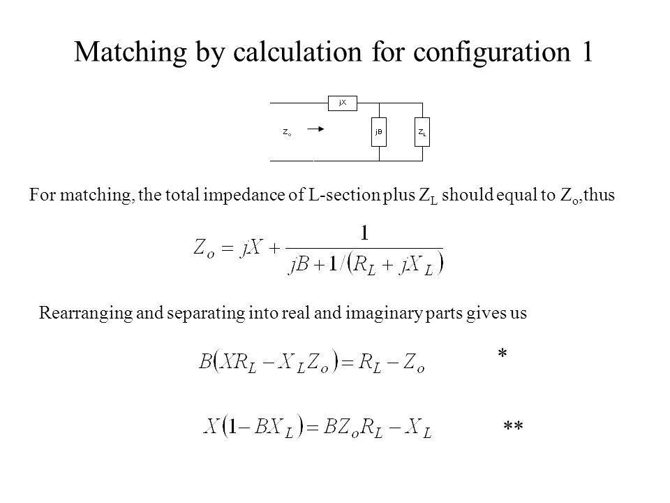 Matching by calculation for configuration 1
