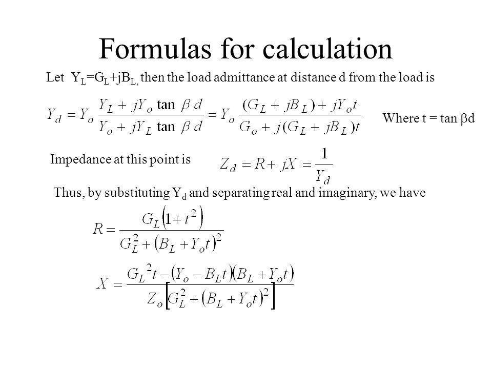 Formulas for calculation