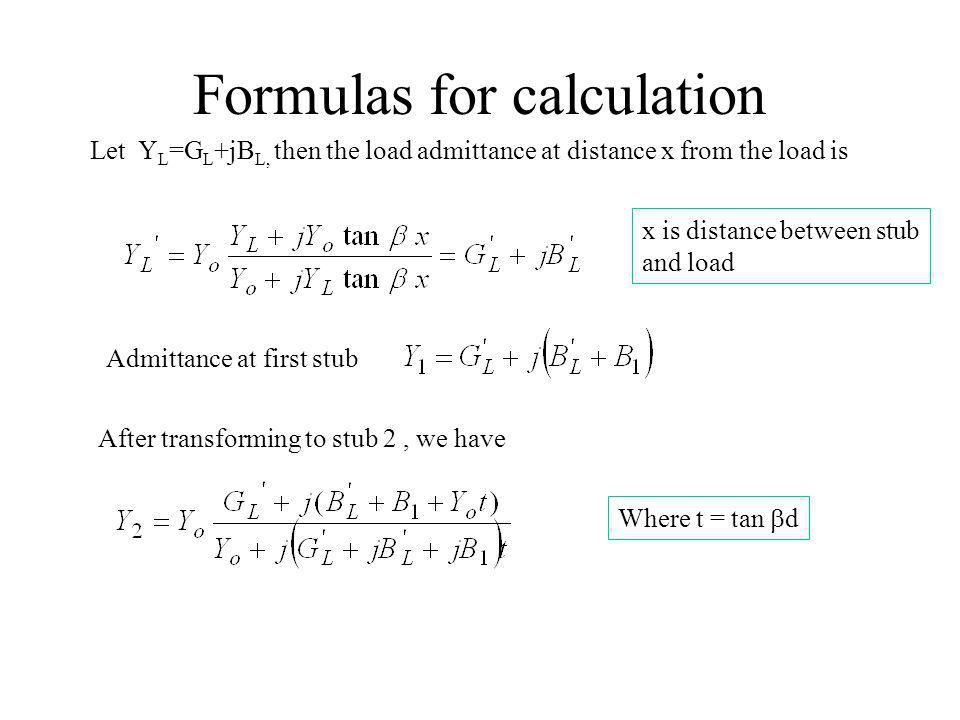 Formulas for calculation