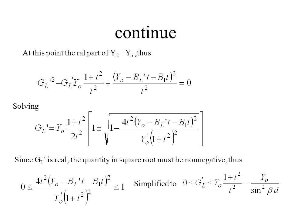 continue At this point the ral part of Y2 =Yo ,thus Solving